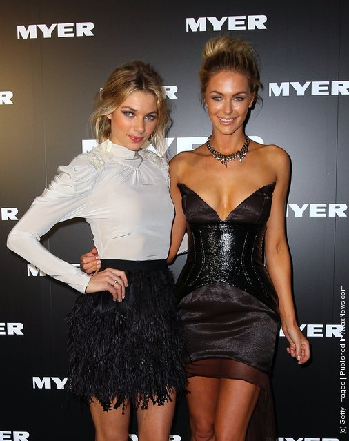 Models Jennifer Hawkins and Jessica Hart arrive at the Myer A/W 2012 Collection Launch