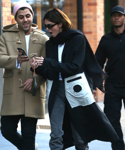 Kendall Jenner is all smiles out and about in New York City on November 20, 2019. (Photo by The Mega Agency)
