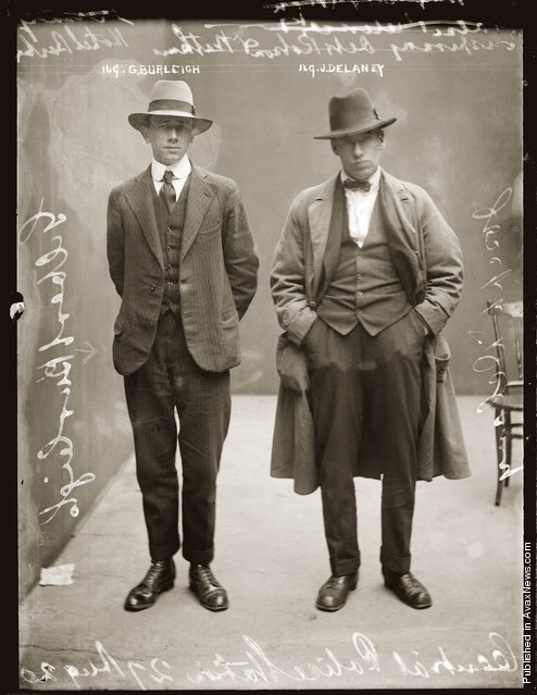Mug shot of Gilbert Burleigh and Joseph Delaney, 27 August 1920, possibly Central Police Station, Sydney
