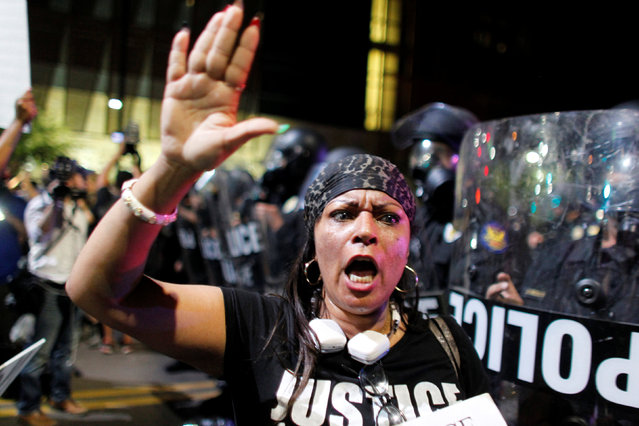 A protester shouts during a demonstration against fatal shootings by the police of two black men across the country, in Phoenix, Arizona, U.S. July 8, 2016. (Photo by Ricardo Arduengo/Reuters)
