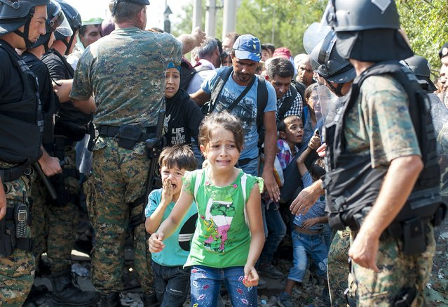 Migrants move past Macedonian police while attempting to enter into Macedonia at the Greece-Macedonia border near the town of Gevgelija on August 26, 2015. More than 42,000 have gone through Macedonia since mid-June to try to enter the European Union, particularly the countries of the passport-free Schengen area. (Photo by Robert Atanasovski/AFP Photo)