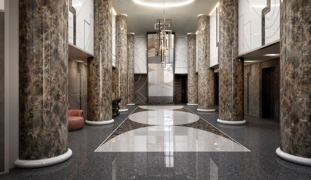 Banks of elevators ensure swift transport to the residences above. (Photo by Tour Odeon)