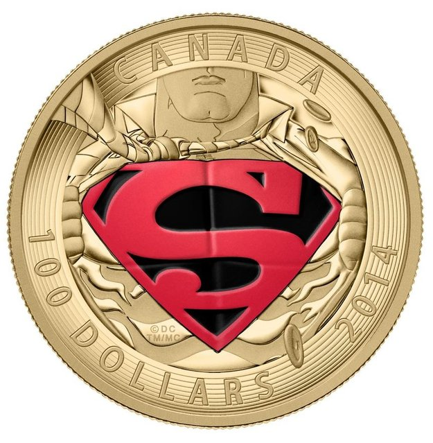 Close-up of the $100 gold coin in the new Superman series from the Royal Canadian Mint. (Photo by The Canadian Press)
