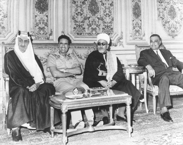 Middle-Eastern leaders in Cairo for talks on the situation in Jordan, September 1970. Left to right: King Faisal of Saudi Arabia (1904–1975), President Muammar al-Gaddafi of Libya (1942–2011), President Abdul Rahman Iryani (1910–1998) of the Yemen Arab Republic and President Gamal Abdel Nasser (1918–1970) of Egypt. (Photo by Keystone)