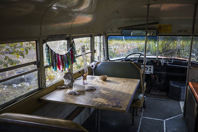 The inside of an abandoned school bus has found new use along the Dalton Highway in Coldfoot, Alaska, USA, 03 September 2017. (Photo by Jim Lo Scalzo/EPA)