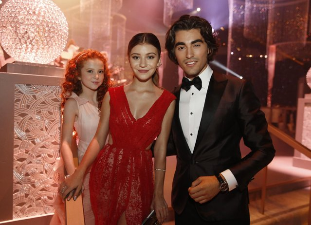 Francesca Capaldi, from left, G. Hannelius and Blake Michael attend the Governors Ball for the Television Academy's Creative Arts Emmy Awards at Microsoft Theater on Saturday, September 12, 2015, in Los Angeles. (Photo by Colin Young-Wolff/Invision for the Television Academy/AP Images)