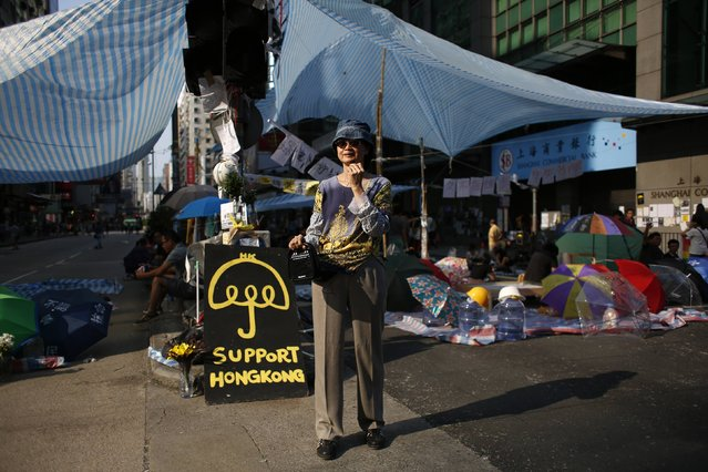 "Yuti Tam, 62, poses with her newly bought loud-hailer on Nathan Road in Mongkok shopping district in Hong Kong October 8, 2014. Tam said, ""I want to spread the message of why we are here. We fight for something that is priceless, to benefit the community as a whole in the long run. Individual's financial loss is temporary. I apologize to those being affected"". (Photo by Bobby Yip/Reuters)"