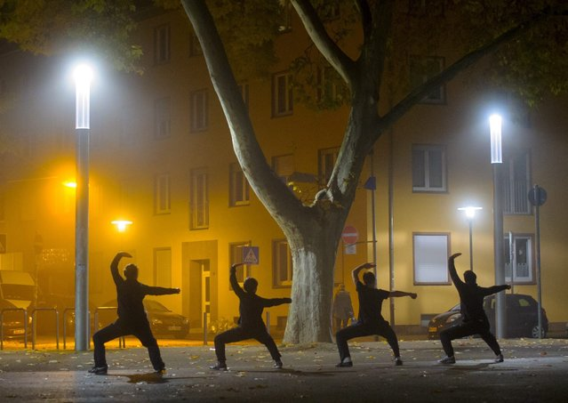 A picture made available 20 November 2014 shows four men practicing kung fu in the fog on Landwehrplatz in Saarbruecken, Germany, 19 November 2014. Twice a week people meet on the square to practise the martial art. (Photo by Oliver Dietze/EPA)