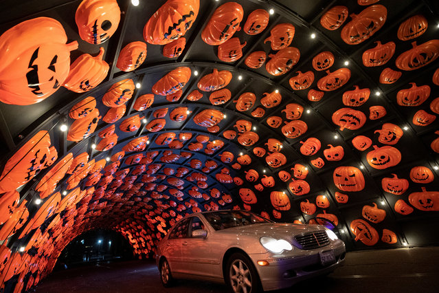 """A vehicle drives through a """"HAUNTOWEEN LA"""" Halloween drive through experience in Woodland Hills, California, U.S., October 8, 2020. (Photo by Mario Anzuoni/Reuters)"""