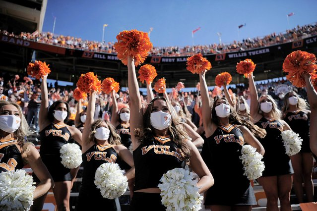 Tennessee dance team members cheer during a game between Tennessee and Kentucky at Neyland Stadium in Knoxville, Tennessee, Saturday, October 17, 2020. (Photo by Calvin Mattheis/USA TODAY Network)