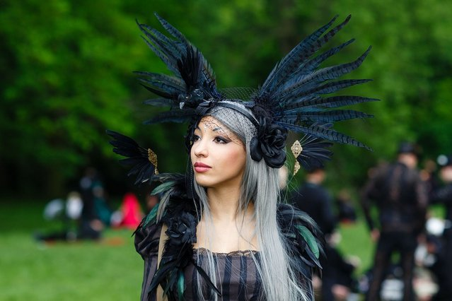 A woman in black clothing wearing a feather-hat poses for pictures during the traditional park picnic on the first day of the annual Wave-Gotik Treffen, or Wave and Goth Festival, on May 17, 2013 in Leipzig, Germany. The four-day festival, in which elaborate fashion is a must, brings together over 20,000 Wave, Goth and steam punk enthusiasts from all over the world for concerts, readings, films, a Middle Ages market and workshops. (Photo by Marco Prosch)