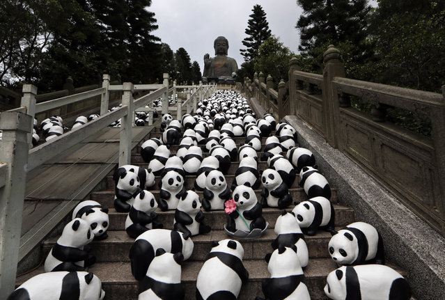 """Part of the 1,600 paper pandas, created by French artist Paulo Grangeon, are displayed in front of the Tian Tan Buddha, a large bronze statue of a Buddha on Lantau Island, a popular tourist spot during the month-long """"1600 Pandas World Tour"""" in Hong Kong Tuesday, June 10, 2014. (Photo by Kin Cheung/AP Photo)"""