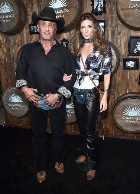 Actor Sylvester Stallone and moodel Jennifer Flavin arrive to the Casamigos Halloween Party at a private residence on October 28, 2016 in Beverly Hills, California. (Photo by Alberto E. Rodriguez/Getty Images for Casamigos Tequila)