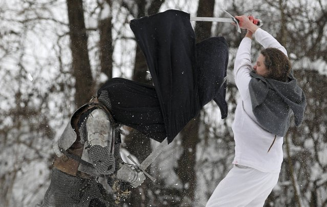 """Locals re-enact the 1573 medieval battle of """"Seljacka Buna"""" in Donja Stubica February 7, 2015. (Photo by Antonio Bronic/Reuters)"""