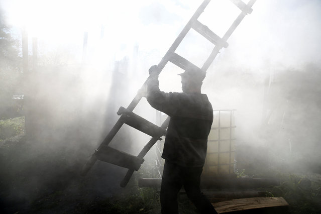 Charcoal burner Zbigniew holds ladder at a charcoal making site in the forest of Bieszczady Mountains, near the village of Baligrod, Poland October 28, 2016. (Photo by Kacper Pempel/Reuters)