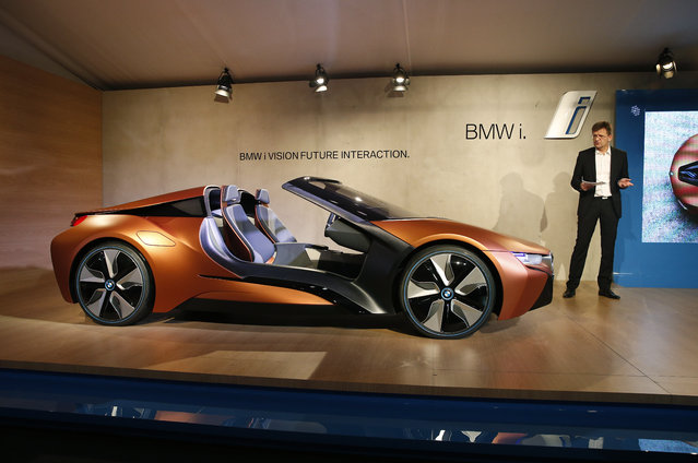 BMW board member Klaus Froehlich introduces the BMW i Vision Future Interaction concept car during a news conference at CES Press Day at CES International, Tuesday, January 5, 2016, in Las Vegas. (Photo by John Locher/AP Photo)