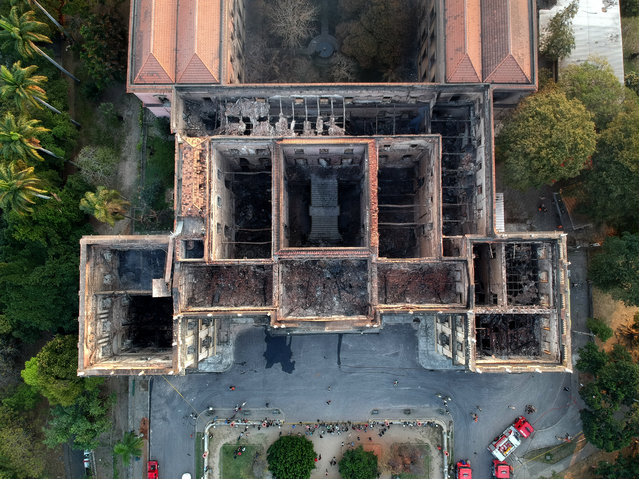 Drone view of Rio de Janeiro's treasured National Museum, one of Brazil's oldest, on September 3, 2018, a day after a massive fire ripped through the building. (Photo by Mauro Pimentel/AFP Photo)