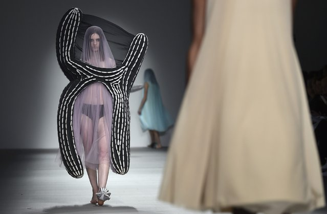 Models display creations by Central Saint Martins at London Fashion Week in London February 20, 2015. (Photo by Toby Melville/Reuters)