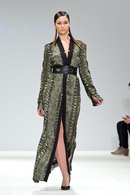 A model walks the runway at the Jacob Birge Vision show during London Fashion Week Fall/Winter 2015/16 at Fashion Scout Venue on February 23, 2015 in London, England. (Photo by Ben A. Pruchnie/Getty Images)