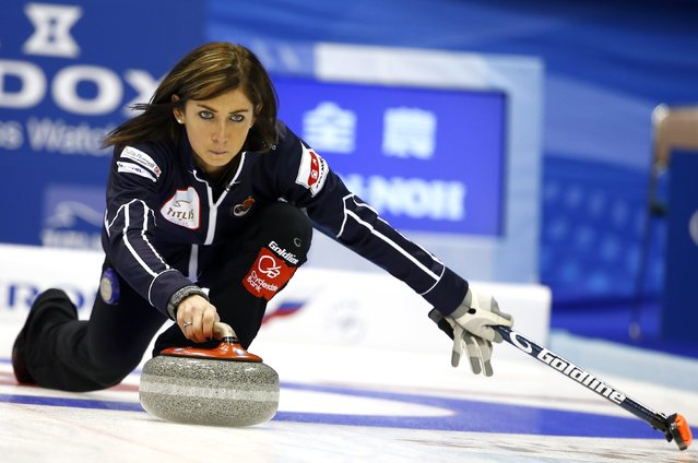 Scotland's skip Eve Muirhead delivers a stone during her curling round robin game against Canada at the World Women's Curling Championships in Sapporo March 15, 2015. (Photo by Thomas Peter/Reuters)