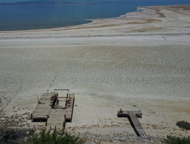 An aerial view shows former boat launches on a Salton Sea's beach, with the water much further away, as California faces its worst drought since 1977, in Salton City, California, U.S., July 4, 2021. (Photo by Aude Guerrucci/Reuters)