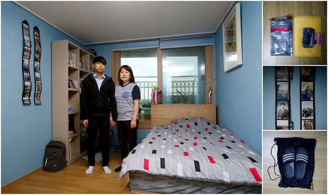 "A combination picture shows Shin Jum-ja (R) and Jung Soo-beom, mother and younger brother of Jung Hwi-beom, a high school student who died in the Sewol ferry disaster, as they pose for a photograph in Shin's son's room, as well as details of objects in Ansan April 7, 2015. Shin said ""Before the accident, my family talked a lot. Now we save our words, trying not to hurt each other. I am eager to see Hwi-beom just once. I wish I could hug him"". (Photo by Kim Hong-Ji/Reuters)"
