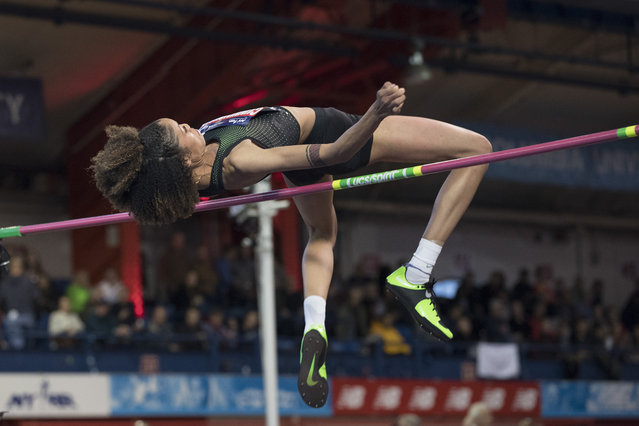 Vashti Cunningham, daughter of former NFL quarterback Randall Cunningham, competes in the in the Women's John Thomas High Jump event during the Millrose Games track and field meet, Saturday, February 9, 2019, in New York. (Photo by Mary Altaffer/AP Photo)