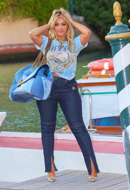 Bebe Rexha, equipped with Dolce & Gabbana, the arrival of the US pop singer at Hotel Excelsior Lido as a guest for a 3-day Dolce & Gabbana event in Venice, Italy on August 26, 2021. (Photo by Backgrid USA)