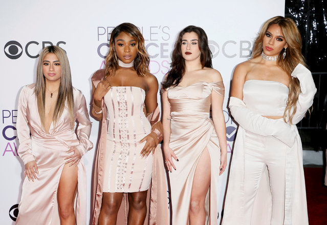 (L-R) Singers Ally Brooke, Normani Kordei, Lauren Jauregui, and Dinah Jane of Fifth Harmony arrive at the People's Choice Awards 2017 in Los Angeles, California, U.S., January 18, 2017. (Photo by Danny Moloshok/Reuters)