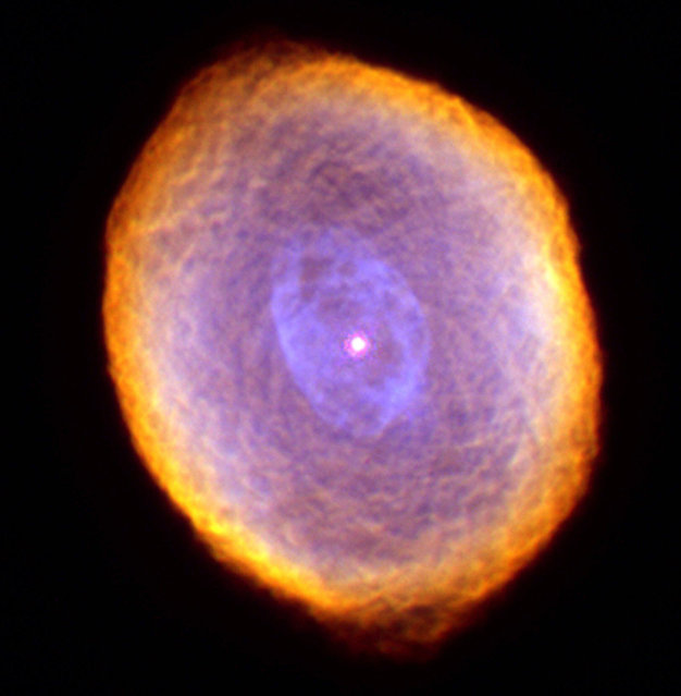 Planetary nebula IC 418, known as the Spirograph Nebula, located 2,000 light years from Earth, is seen in this photo from the Wide Field Planetary Camera 2 aboard NASA's Hubble Space Telescope.  A planetary nebula is the final stage of the evolution of a star similar to the sun. The Hubble image is shown in a false-color representation, based on exposures taken in February and September 1999 through filters that isolate light from various chemical elements. (Photo by AP Photo/NASA, The Hubble Heritage Team, Dr. Raghvendra Sahai and Dr. Arsen R. Hajian)