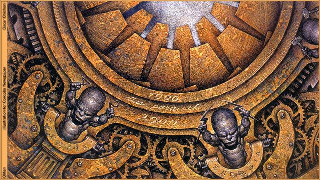 1000 Days to 2000, illustration for La Voz del Interior, Argentina. Artwork by Oscar Chichoni