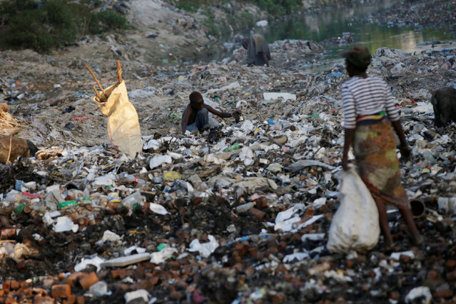A boy digs on garbage at a canal in Port-au-Prince, Haiti, December 1, 2016. (Photo by Andres Martinez Casares/Reuters)