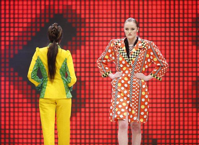 Models present creations by Nigerian designer Joan Okorodudu of House of Jola at the Malta Fashion Awards 2015 at the Marsa Shipbuilding warehouse in Marsa, outside Valletta in Malta, May 16, 2015. (Photo by Darrin Zammit Lupi/Reuters)