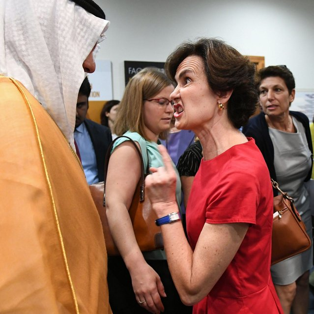 France's and the EU candidate as new Director-General of the Food and Agriculture Organization of the United Nations (FAO) agency, Catherine Geslain-Laneelle (R) gestures as she talks with the delegate from Saudi Arabia within the election's plenary assembly on June 23, 2019 during the FAO 41st Conference at the FAO headquarters in Rome. Candidates from China, France and Georgia are vying to head the UN's food agency, as the fight to eradicate world hunger takes a blow from global warming and wars. (Photo by Vincenzo Pinto/AFP Photo)