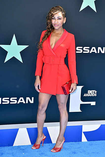 Meagan Good attends the 2019 BET Awards on June 23, 2019 in Los Angeles, California. (Photo by Aaron J. Thornton/Getty Images for BET)