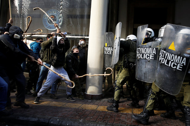 Farmers from the island of Crete clash with riot police during a demonstration outside the Agriculture Ministry in Athens, Greece March 8, 2017. (Photo by Alkis Konstantinidis/Reuters)