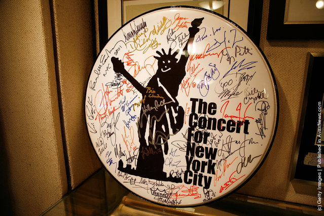 A signed drumhead from The Concert For New York City
