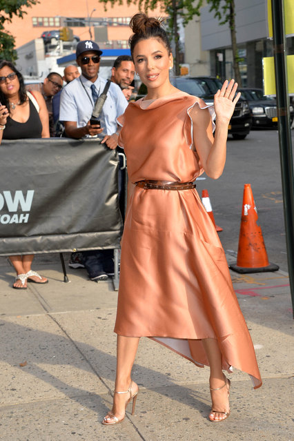 Eva Longoria Arrives at The Daily Show with Trevor Noah in New York, NY on August 5, 2019. (Photo by Kristin Callahan/ACE Pictures/INSTARimages.com)