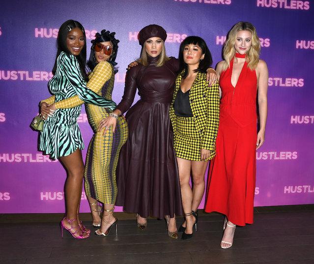 """Keke Palmer, Cardi B, Jennifer Lopez, Constance Wu, and Lili Reinhart  pose at the Photo Call For STX Entertainment's """"Hustlers"""" at Four Seasons Los Angeles at Beverly Hills on August 25, 2019 in Los Angeles, California. (Photo by Steve Granitz/WireImage)"""