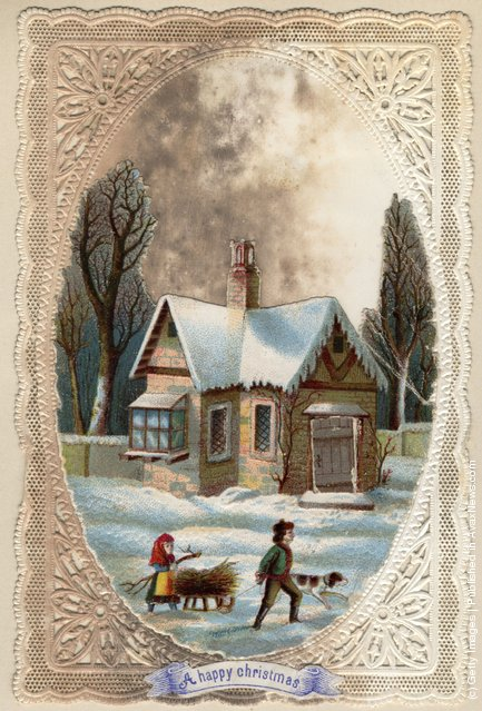 December 1872: Children collecting wood on a sledge, on this Victorian Christmas greetings card