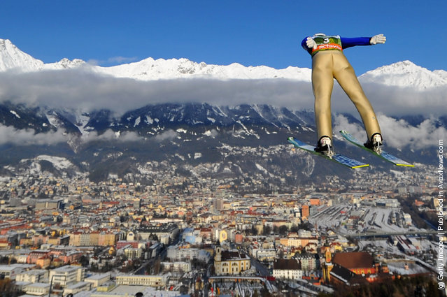 Mario Innauer of Austria competes during the training round of the FIS Ski Jumping World Cup event