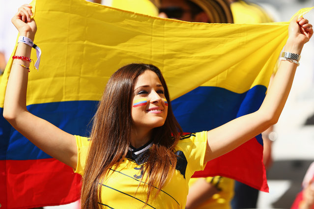 A Colombia fan shows support prior to the 2014 FIFA World Cup Brazil Group C match between Colombia and Greece at Estadio Mineirao on June 14, 2014 in Belo Horizonte, Brazil. (Photo by Quinn Rooney/Getty Images)