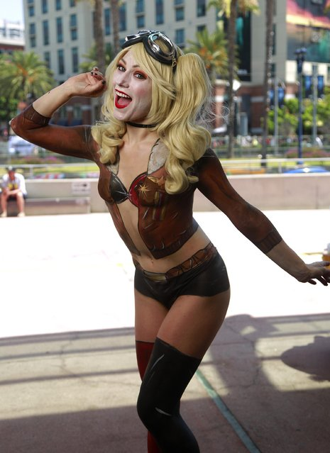 Rachel Hollon of Los Angeles was body painted as Harley Quinn at Comic-Con International in San Diego, USA on Jule 20, 2017. (Photo by K.C. Alfred/San Diego Union-Tribune via ZUMA Press/Rex Features/Shutterstock)
