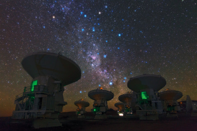 The antennas of the European Southern Observatory's Atacama Large Millimeter/Submillimeter Array, also known as ALMA, are set against the splendor of the Milky Way in this picture by Babak Tafreshi