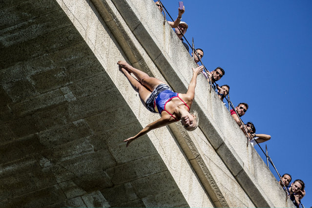 In this handout image provided by Red Bull, Rhiannan Iffland of Australia dives from the 21 metre platform during the first training session of the fifth stop of the Red Bull Cliff Diving World Series on September 14, 2017 in Mostar, Bosnia and Herzegovina. (Photo by Dean Treml/Red Bull via Getty Images)