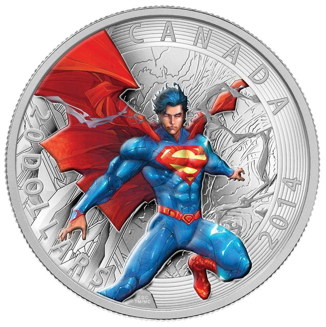 Close-up of the $20 silver coin in the new Superman series from the Royal Canadian Mint. (Photo by The Canadian Press)