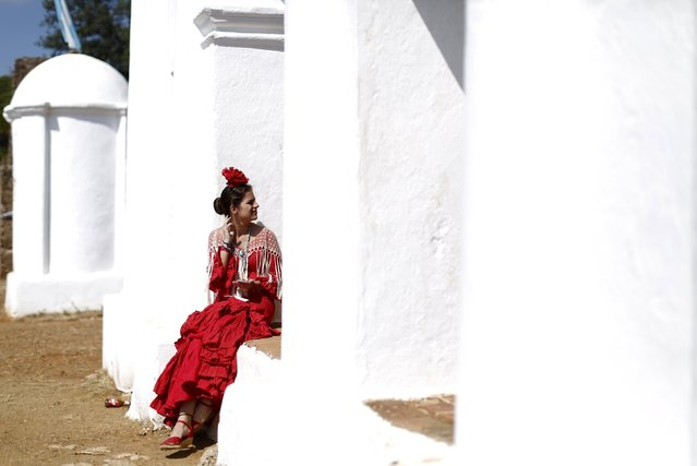 A pilgrim wearing traditional dress sits during the Queen of Angeles pilgrimage in Alajar, southern Spain, September 8, 2015. (Photo by Marcelo del Pozo/Reuters)