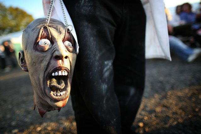A visitor to the Shocktober Fest at Tulleys Farm carries a zombie head on October 6, 2012 in Turners Hill, England. People dressed as zombies from around the United Kingdom have converged on Tulleys Farm in an attempt to set a new Guinness World Record for the most zombies together in one place.  (Photo by Peter Macdiarmid)