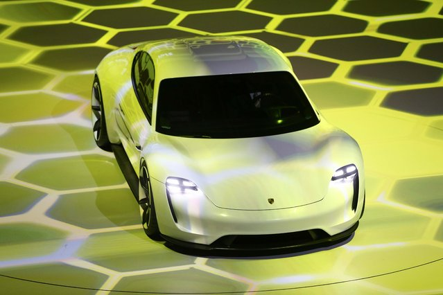 The new electric Porsche Mission E concept car is presented during the Volkswagen group night ahead of the Frankfurt Motor Show (IAA) in Frankfurt, Germany, September 14, 2015. (Photo by Kai Pfaffenbach/Reuters)