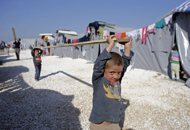 Kurdish refugee boys from the Syrian town of Kobani carry a wooden beam in a refugee camp in the border town of Suruc, Sanliurfa province November 11, 2014. (Photo by Osman Orsal/Reuters)